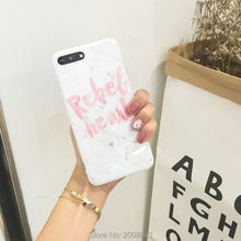 'Rebel Head' Letter Marble Case For iPhone X 6 6S Plus Soft TPU White Slim IMD Quality Cover for iPhone 8 7 7plus Hipster Shell(China)