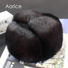 Aorice 170760 men mink fur hat Men's Mink Fur Trapper Cap Genuine Sheepskin Leather Hunting Hat Ushanka(China)