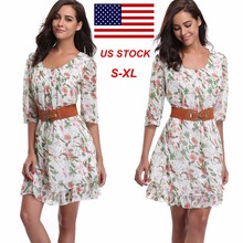 2017 New Style Summer Dress Print Casual Women Dress Knee-Length Women Short Cute Dresses(China)