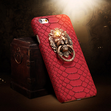 For iphone 5 5s se 6 6plus 6s plus 7 7Plus Cover fashion Snake Skin leather hard Phone Case 3D Lion Head Stand  Fundas cases