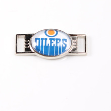 Edmonton Oilers NHL Hockey Team Logo Oval Shoelace Charms For Sport Shoes And Paracord Bracelets Jewelry Decoration 6pcs