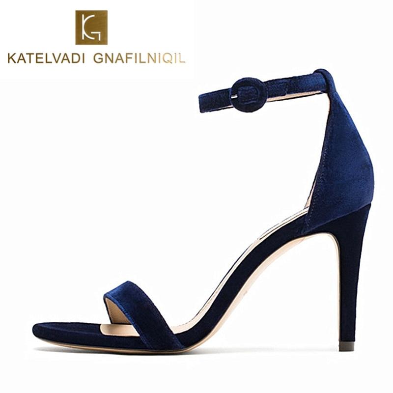 Sexy Sandals Shoes Women Female Summer Gladiator Sandals Blue Velvet Women Shoes High Heels Sandals Summer Shoes Open Toe K-083<br>