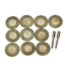 10pcs/set 30mm Diamond Grinding Wheel Slice with Two 3mm Shank Mandrels for Dremel Rotary Tool