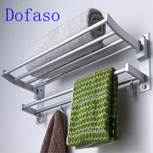 Dofaso toilet hardware 40cm/60cm length shower towel rack 2 layer bathroom shelf accessory with hook(China)