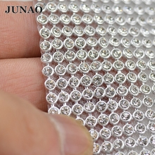 45*120cm Silver Aluminum Mesh Glass Rhinestones Metal Trim Crystal Strass Banding Bridal Applique For Garment Dress Decoration