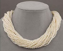 latest design 10 strands beautiful AAA+ south sea white pearl necklace 18 inch
