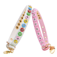 New Cute Pu Leather Spike Studded Dog Collar Glittering Crystal Ornament Pet Collar for Small Dog Pet Accessories (pink,white)(China)