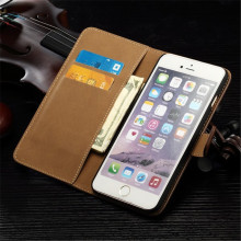 Genuine Leather Case for iPhone On 5 5S SE 6 6S 7 Plus Flip Stand Design Phone Back Cover Wallet with Card Slot Black Brown