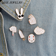 6pcs/set Pins Rabbit mask figure sign brain cute cartoon white pins For women men jacket collar badge jewelry gift(China)