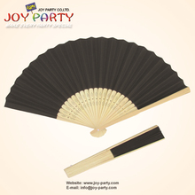 10pcs/lot 21cm Black color Paper Hand Fan Holloween Party DIY Decoration Promotion Gifts(China)