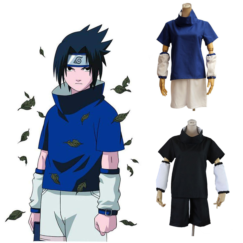 Naruto Shippuden Uchiha Sasuke 1st 2st Generation Unisex Cosplay Costume Blue Black Clothing Sets & Arm Leg Protector(China)