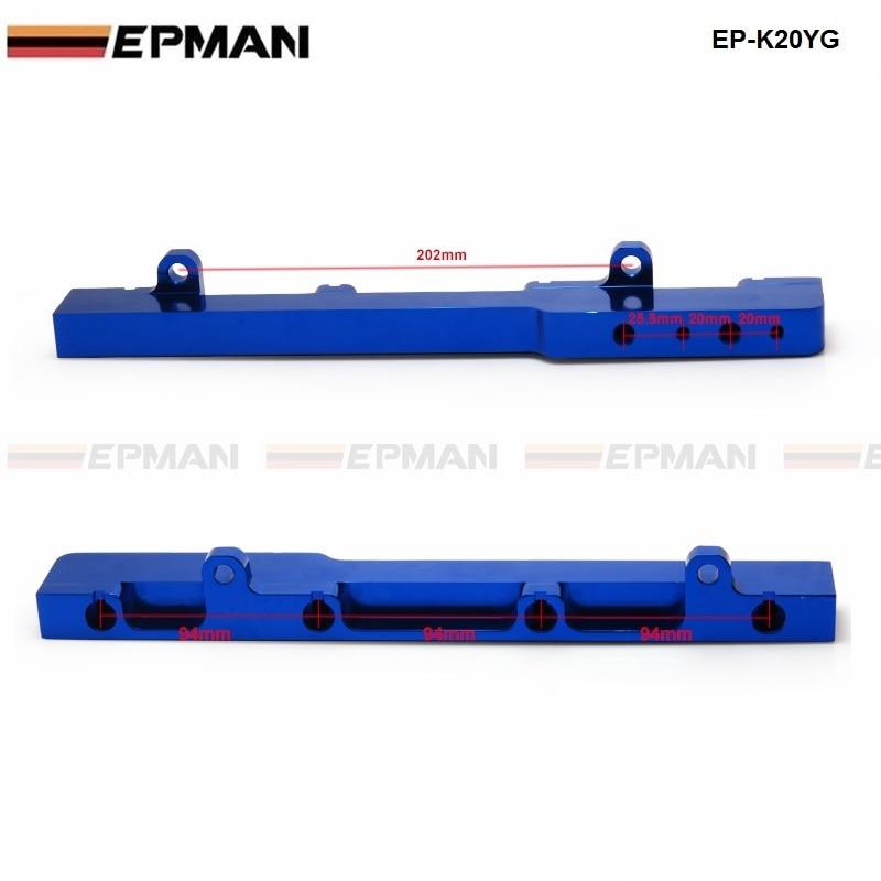 Blue EPMAN For Honda K-Series K20 DC5 EP3 JDM Race Billet Aluminum High Flow Fuel Rail Assembly
