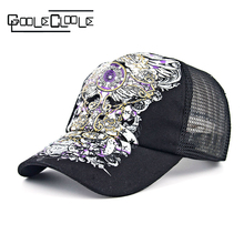 New Summer Unisex Outdoor Shading Cap Flower Pattern Rhinestone Pierced Mesh jewel Baseball Cap Female Sport Breathable Mesh hat