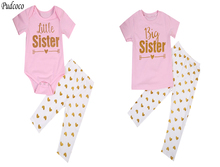 Family Matching big little Sister set Newborn Baby Girls Romper Girls T-shirt Tops +Pants Leggings Outfits Family Set