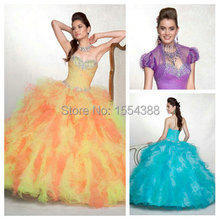 Multi Color Sweetheart Dress Debutante Girls Ball Gown Ruffles Beaded Rainbow Quinceanera Dresses with Jacket Luxury Vestidos