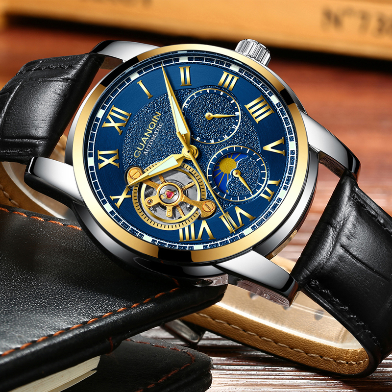 relogio masculin GUANQIN Mens Watches Luxury Tourbillon Skeleton Men Sport Leather Waterproof Automatic Mechanical Wristwatch<br>