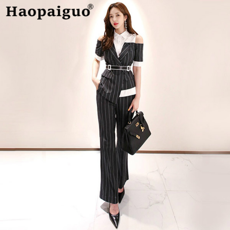 Plus Size Office Work 2 Pieces Set Off Shoulder Corset Short Sleeve Blouse and Striped Flare Sleeve Long Pants OL Two Pieces Set