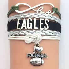 (10 Pieces/Lot) High Quality Infinity Love Philadelphia Eagles Football Bracelet Green Silver Black Custom Any Styles/Themes(China)
