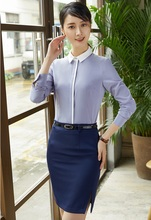 2 Piece Sets Women Suits with Skirt and Top Office Ladies Grey Blouses Work Wear Business Clothes(China)