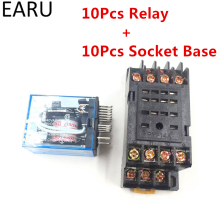 10Pcs MY4NJ Electronic Micro Mini Electromagnetic Relay 5A 14PIN Coil 4DPDT With PYF14A Socket Base DC12V 24V AC110V 220V LED