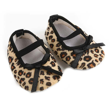 Fashion cute baby shoes casual Infant prewalkers Leopard printing Bow non-slip Soft baby girls Shoes -Size 11(China)