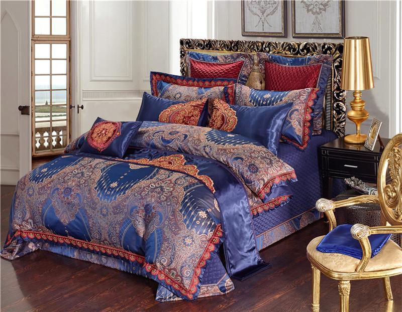 Luxury Bedding Set, Silk Satin Jacquard Bedding Set, Queen, King, Duvet Cover,Bed Linen Flat Sheet Set 25