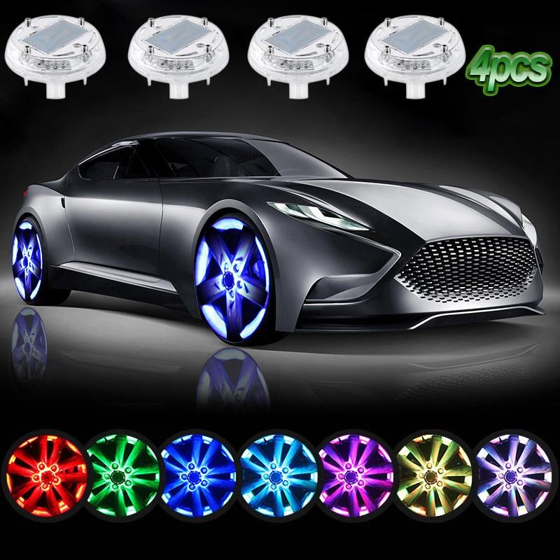 4 Pcs LED Solar Energy Hub Lamp Waterproof Car Decoration Colorful Night Rain Snow Fog Warning Light LED Wheel Lamps DXY<br>