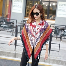 E02 Square Scarves  Floral Print Ladies Tassels Rayon Shawls and Hijabs Head Cape Muslim Hijab Scarf Women Mix Design Order
