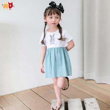 AD 6pcs/lot Cute Rabbit Girls Dresses for Summer Quality Sewing 100% Cotton Baby Girls Dress Kids Children's Clothing