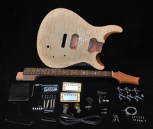 DIY Electric Guitar Kit PRS Style Mahogany Body With Flamed Maple Veneer Top Rosewood Fingerboard Bird Inlay Tremolo Locking