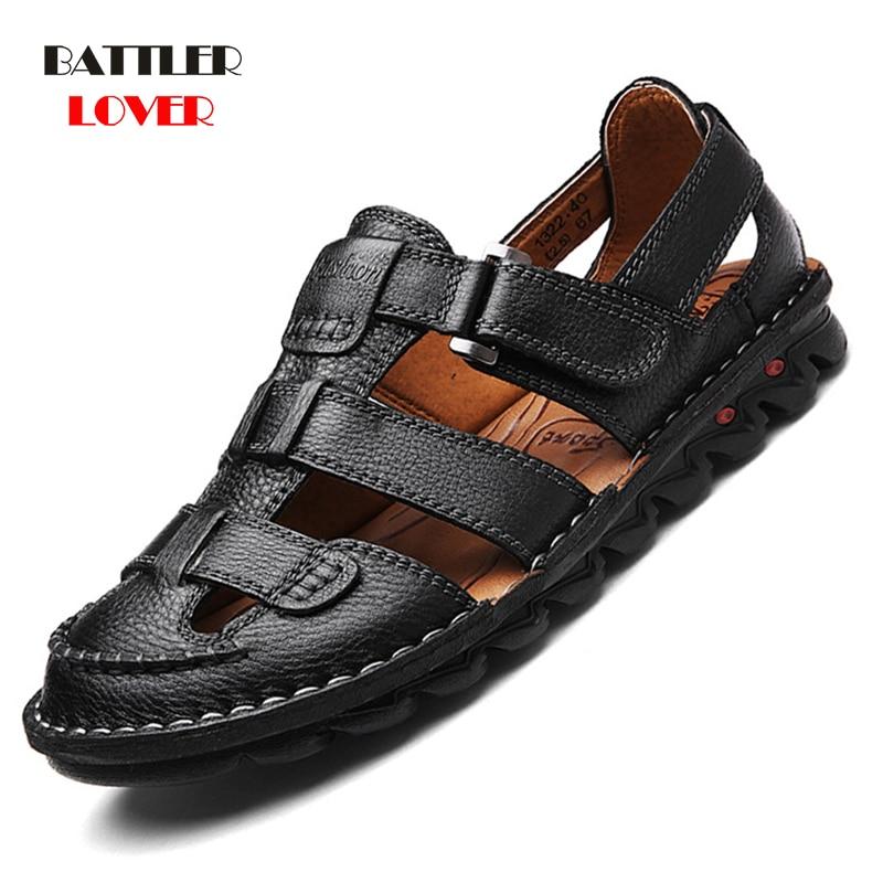 2019 Genuine Leather Men Soft Sandals Classic Comfortable Mans Rubber Flip Flops Summer Shoes Sandals Large New Arriving