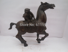 Asian Antique bronze animal statue Metal crafts,Hand carved Horse and monkey sculpture