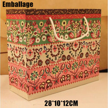 New Vintage Europ Pattern Packages Paper Bags Printing Paperboard Packing 10pcs/lot 28*10*12cm Bag Drawstring Package