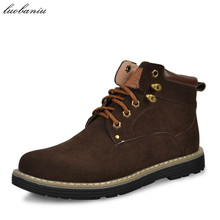 38-45 Winter Boots Men Natural Suede Men Boots Plush Warm Brown Blue High Quality