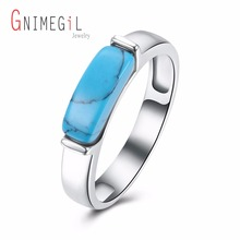 GNIMEGIL Brand Classic Simple Design Blue Kallaite Turquoises Natural Stone Rings For Women OL Style Unisex Charm Rings Jewelry