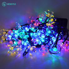 6V Solar LED String Lights 30 Leds Peach Flowers Holiday Lights Colorful Garland Christmas Light for Indoor Outdoor Decoration