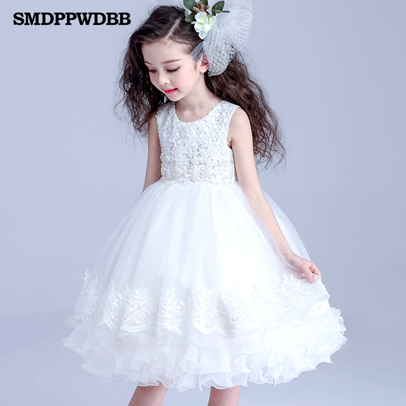 SMDPPWDBB Wedding Party Pink White Flowers Girl Dress Baby Pageant Dresses Birthday Toddler Kids evening gowns Customized<br>