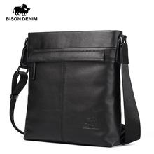 "Bison Denim Genuine Leather 10.5"" Ipad pro Shoulder Bag Top Quality Black Cowhide Crossbody Bag for Men Casual Satchel N2357-1B"