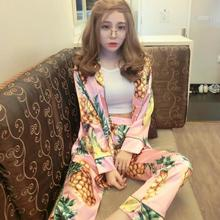 The Legend Of The Blue Sea Pineapple Stamp Silk Pajamas Lapel Cardigan Womens Silk Pajamas Sexy Pajamas For Women