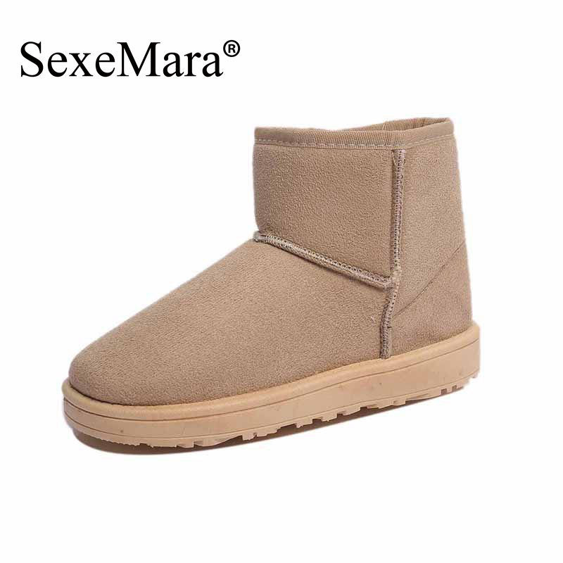 SexeMara Brand 2017 New Collection Snow Boots for Women Winter Boots Flock Botas Femininas Fashion Ankle Boots Zapatos Mujer<br><br>Aliexpress