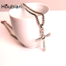 HouBian High Quality The Fast and the Furious Celebrity Vin Diesel Item Crystal Cross Pendant Necklace for Men Gift Jewelry