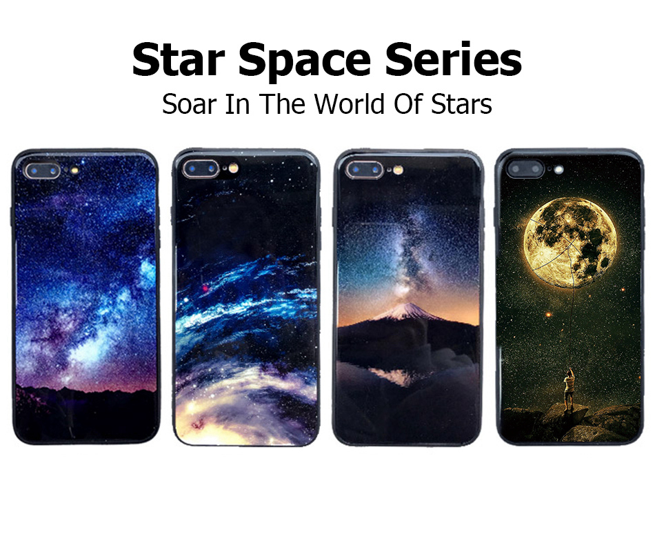 TOMKAS Star Sky Pattern Glass Case For iPhone X 7 8 6 6 s Cover Phone Cases For iPhone 7 8 6 6s Plus X Case Silione TPU PC Coque (10)