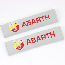 New car covers seat belt pad embroidery pattern cotton fit for fiat punto abarth 500 stilo ducato palio bravo doblo 2pcs/set(China)