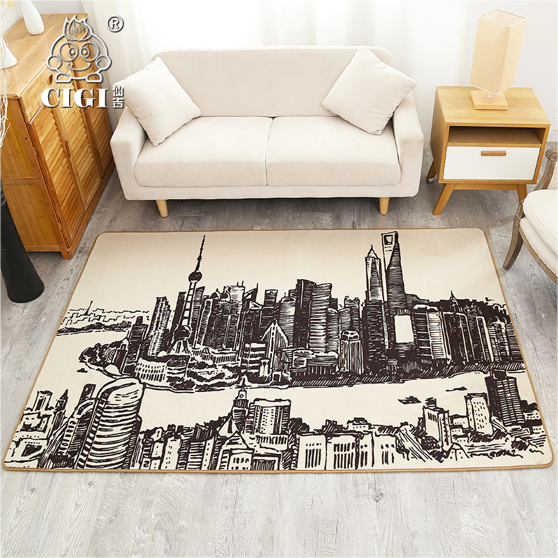 CIGI Old Shanghai Scenery Design Creative Home Carpet Thin Blanket Bedroom Living Room Floor Anti