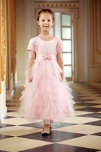 Vestidos Sweet Pink Pleated Tulle A-line Flower Girl Dress for Wedding Bow Sash Ankle Length Girls First Communion Prom Dresses(China)