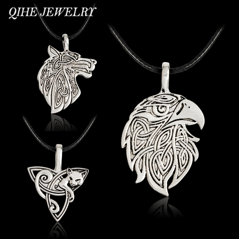 QIHE JEWELRY Wolf Fox Eagle Norse Viking Necklace For Men Norse Vikings Talisman Original Wild Men Jewelry Supernatural Amulet(China)