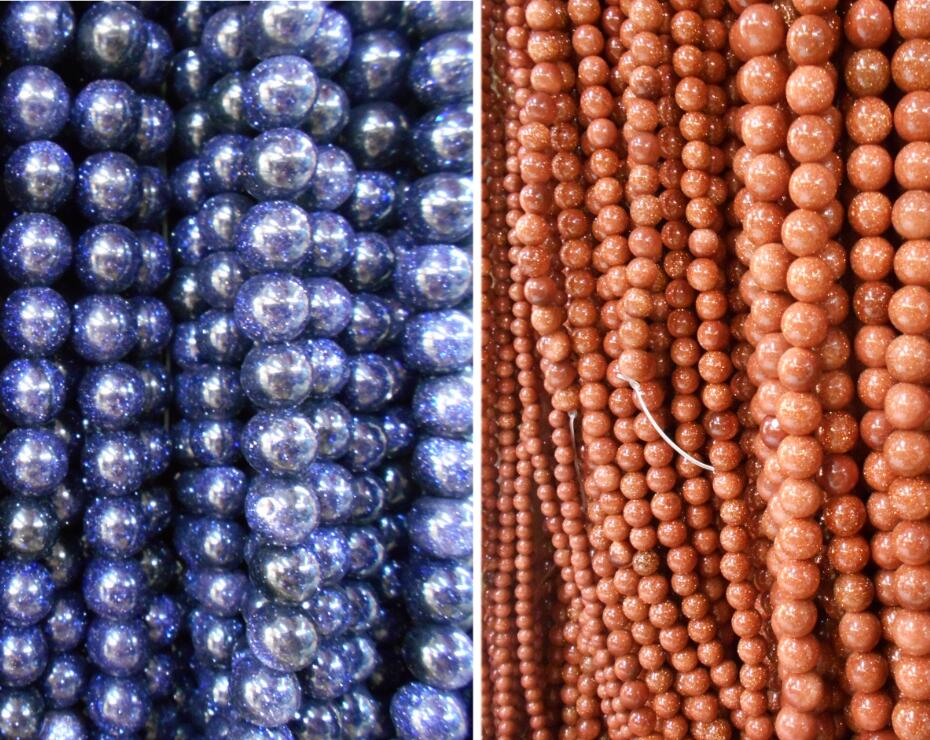 """New 6-14mm Faceted Galaxy Blue Sand Sun Sitara Round Gems Beads Necklace 18/"""""""