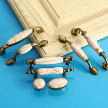 Bronze White Kitchen Cabinet Vintage Ceramic Metal Door Handles Home Furniture Accessories Cupboard Wardrobe Drawer Pull Knobs