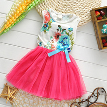 Summer New Design Flowers Girls Dresses High Quality Child's Wear Toddler TuTu Girls Dresses Clothing Mesh Kids Dress(China)