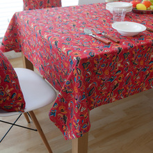 Red Flower Tablecloths Bohemian Style Cotton Linen Rectangular Table Cloth Party Wedding Table Cover Dustproof Home Textile(China)